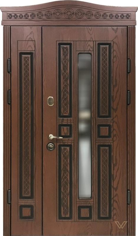 Двері для будинку з полімерними накладками, карнізом і склопакетом
