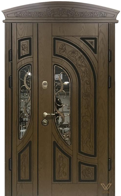 Двері вхідні, полімерні з карнізом