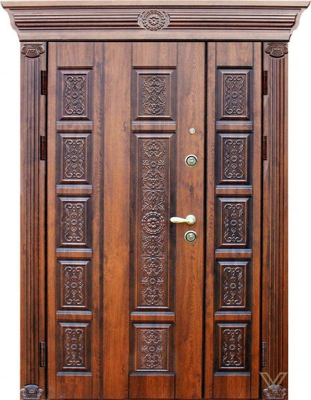 Двери входные, двуполые с карнизом